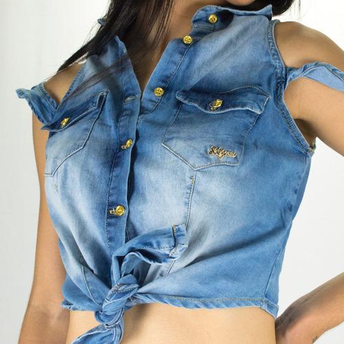 blusa cropped sol jeans de amarrar e botões com lycra azul
