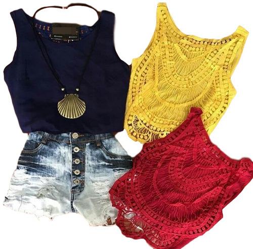 blusa cropped top renda croche saida de praia panicat 2761
