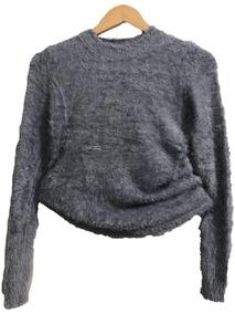 e279198de3 Blusa Curto Cropped De Pelucia Pelinhos Manga Longa Inverno