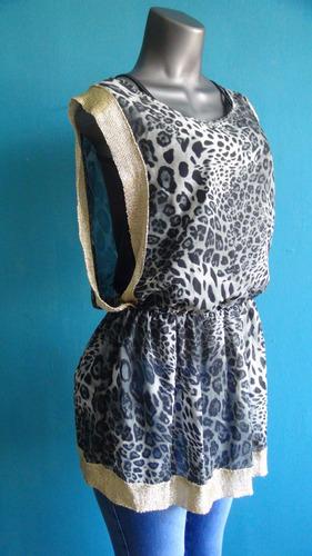 blusa dama animal print, tela chifon importada.talla s