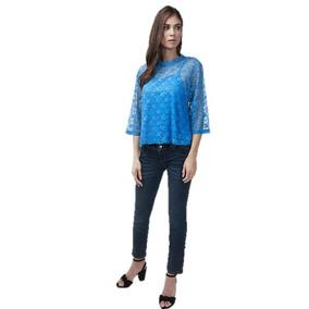 02142f46bc Blusa Dama Azul Con Transparencia 017098 Pv19