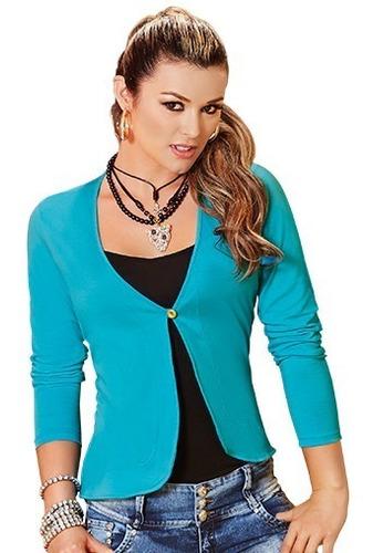 blusa dama casual chaqueta sweter blazer algodon manga larga