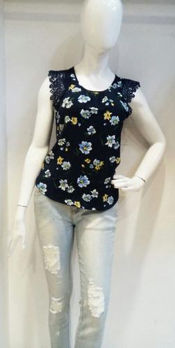 blusa dama con mangas corta calada 887