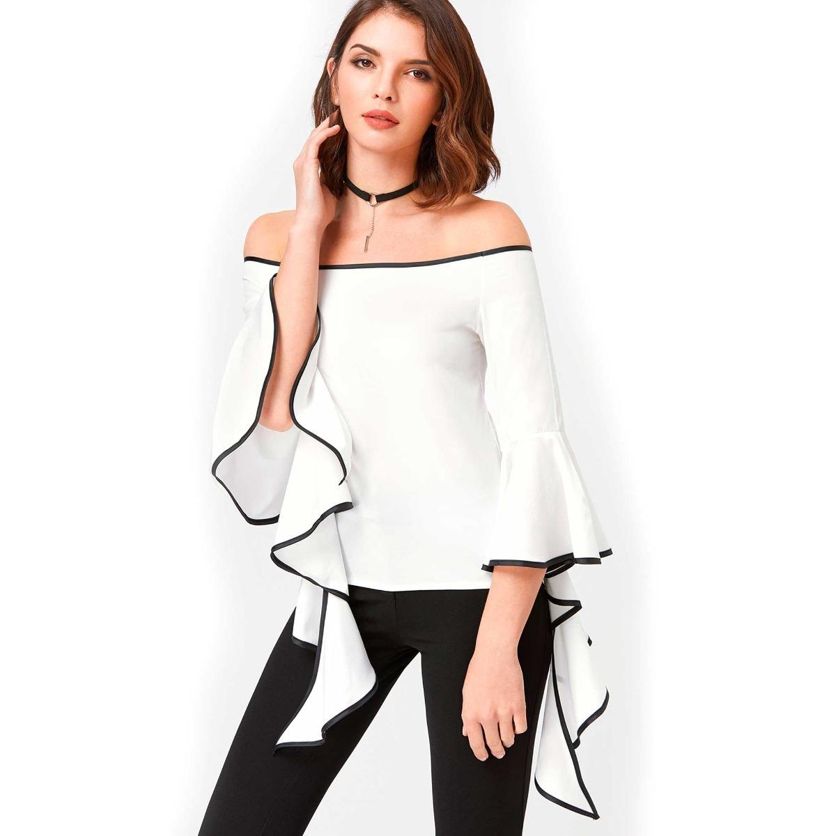 dec84c4edac50 Blusa Dama Elegante Blanco Y Negro -   58.650 en Mercado Libre