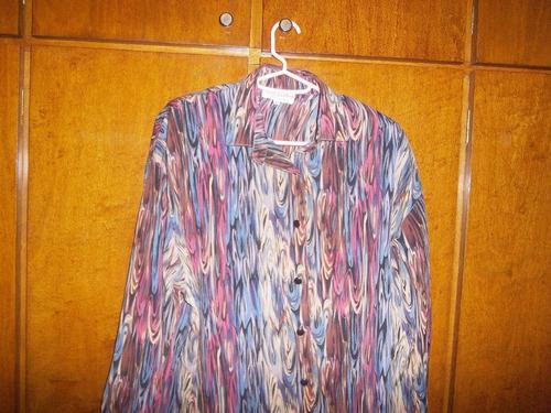 blusa dama !!!!, en seda estampada, talle 52, impecable !!!!
