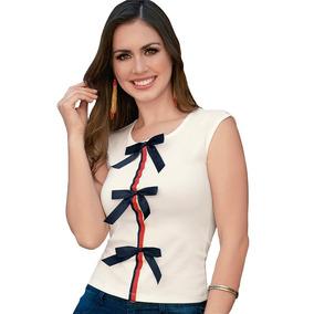 5c31e4fa3 Blusa Dama Mujer Moda Casual Moño Crepe Ivory Verano Comoda