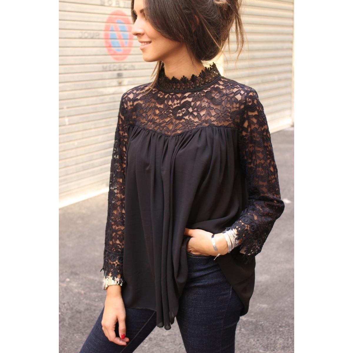 dc13b10c1a0c Blusa Dama Negra Encaje Tops Elegante Moda Camiseta Playera