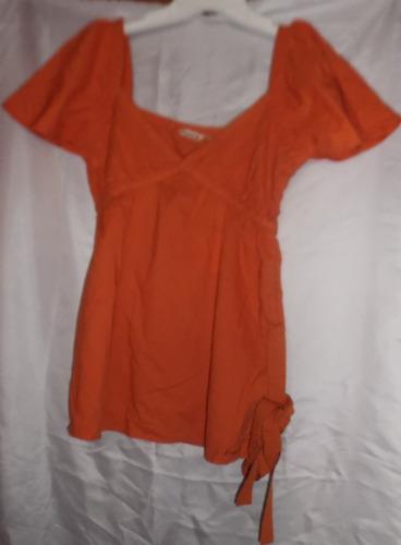 blusa dama tipo hindu, cuello v,bordado al frente, manga cor