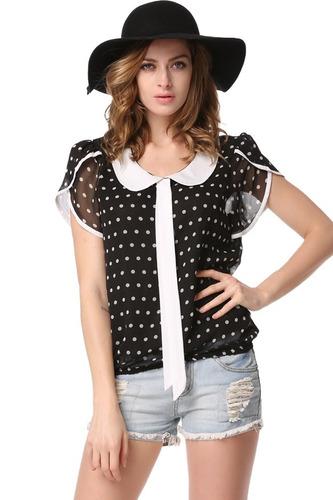 blusa dama vestir formal elegante lunares polka dots fiesta