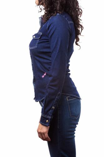blusa dama wrangler azul mezclilla 53mezfw33