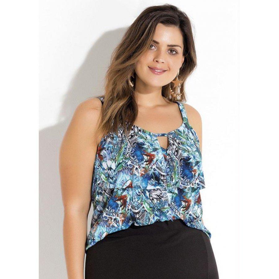 993e9fbf9 blusa de alças estampada com babado quintess plus size. Carregando zoom.