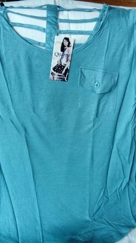 blusa de algodón quarry color verde esmeralda talla ch