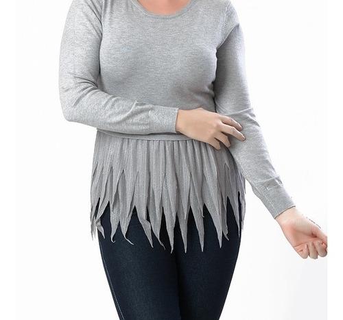 blusa de bico manga longa feminina