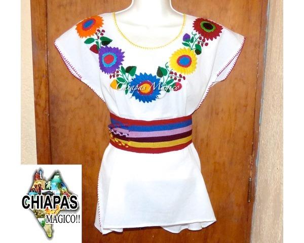 blusa de chiapas bordada a mano girasoles talla grande