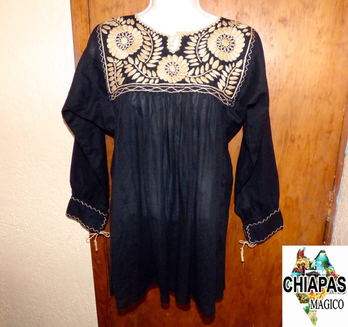 blusa de chiapas bordada a mano / negra / rococó / unitalla