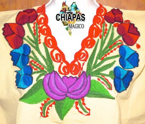 blusa de chiapas bordada a máquina/ talla chica / zinacantán