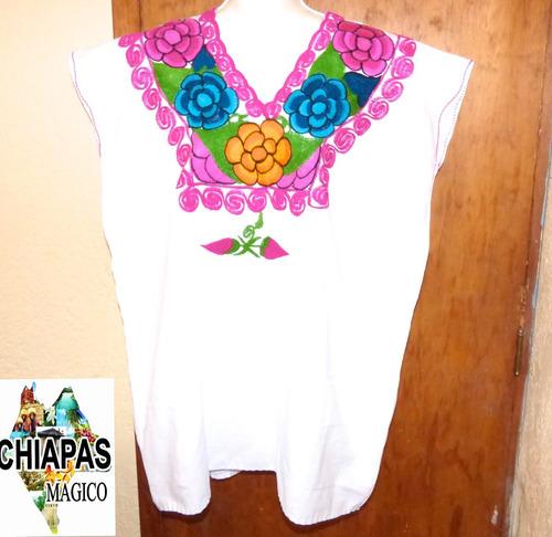 blusa de chiapas bordada a máquina/ talla xl / zinacantán