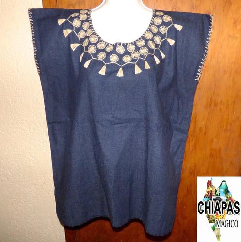 blusa de chiapas bordada mano / talla m / mezclilla / m009 f