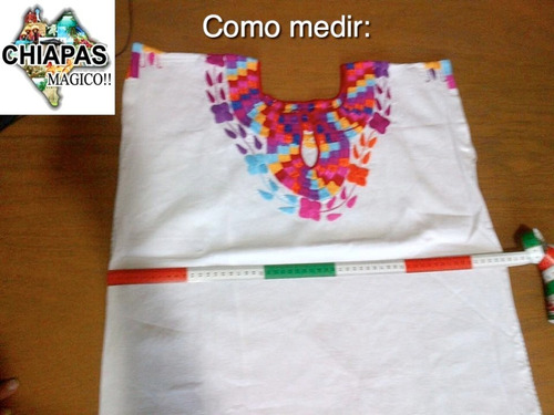 blusa de chiapas bordada máquina / talla m / celeste / z 5