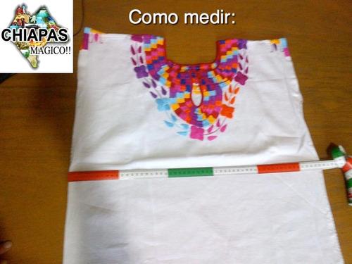 blusa de chiapas bordada / talla m / negra fucsia / m009 a