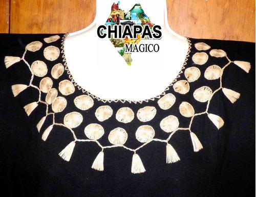 blusa de chiapas bordada / talla m / negra y beige / m009 c