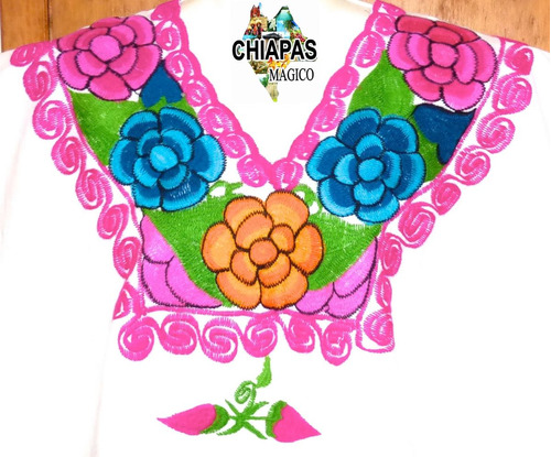 blusa de chiapas bordada zinacantán / talla xl / blanca /z22