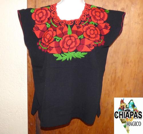 blusa de chiapas zinacantán / talla m / negra cuello redondo
