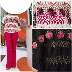 bd3a5a933be882 Arranjos De Flores Em Croche - Camisetas e Blusas com o Melhores Preços no  Mercado Livre Brasil