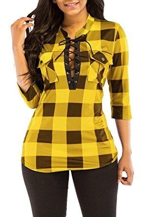 xl talla de amarilla blusa marca kissmoda mujer cuadros de TwXnT1qpI