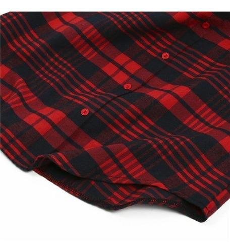 blusa de cuadros rojos para dama manga larga