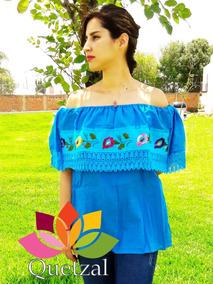 851dcfc023 Blusa De Dama Mexicana Bordada Artesanal Típica Mexicana Cam