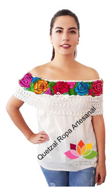 460d6463cc01 Blusa De Dama Mexicana Campesina Bordada Artesanal Típica Be