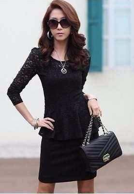 blusa de encaje  negro (010401)