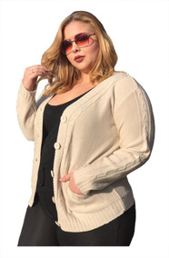 e0624d6d01 Blusa De Frio 2019 Casaco Botão Malha Tricot Plus Size 46/48
