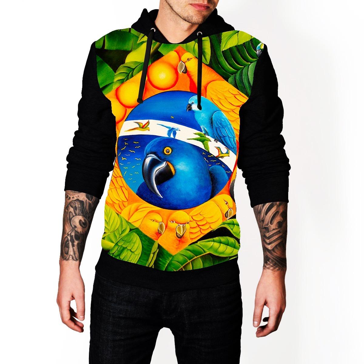 blusa de frio brasil araras estampa full moletom ref 3020. Carregando zoom. c64fa51992b33