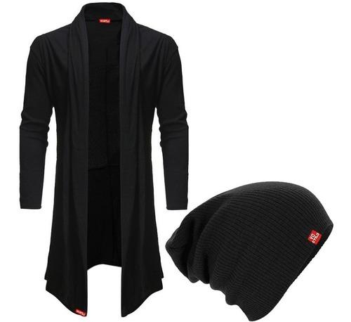 blusa de frio cardigan masculino preto + touca beanie preta