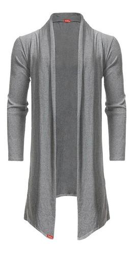 blusa de frio cardigan masculino + touca beanie cinza