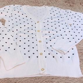 c19e29bb8a Blusa De Frio Cardigan Tricô Estampada Coração Feminina