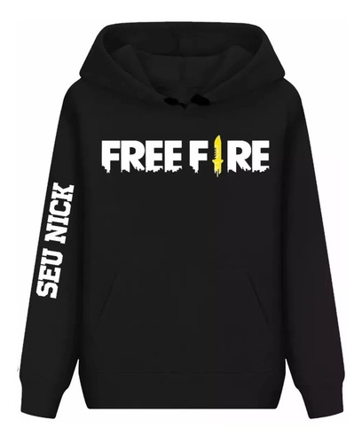 blusa de frio casaco moletom free fire com seu nick do jogo
