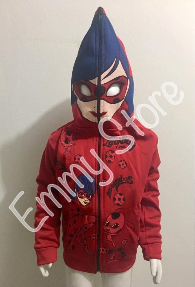 Blusa De Frio Da Ladybug Com Capuz Que Vira Mascara R 55 00 Em