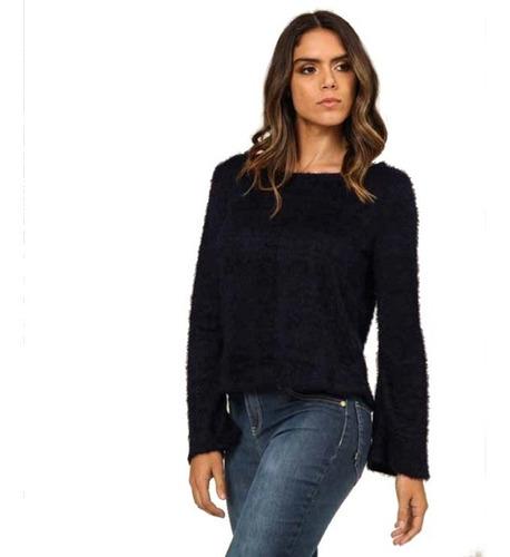 blusa de frio em trico feminina felpuda gola redonda mormaii
