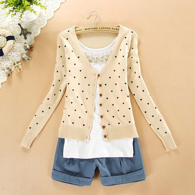6df4d22509 blusa de frio feminina cardigan suéter lã trico coração. Carregando zoom.
