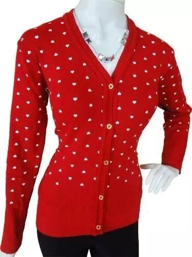 4869976c23 Blusa De Frio Feminina Cardigan Suéter Lã Trico Coração - R  39