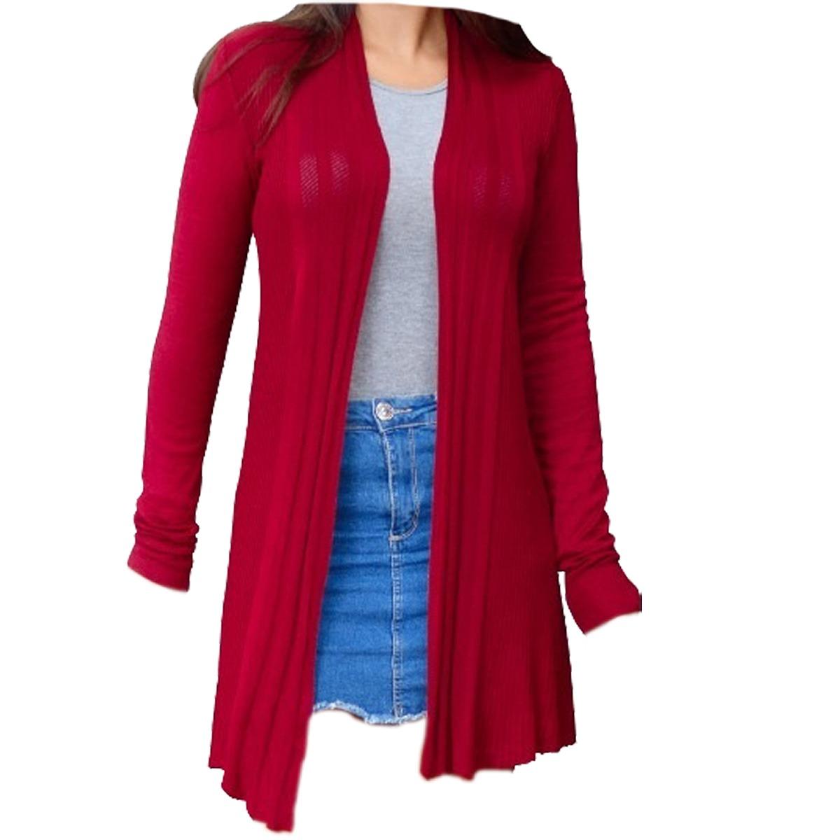 59489883e Blusa-de-frio-feminina-casaco-cardigan-sueter-la-tricot - R$ 42,32 ...