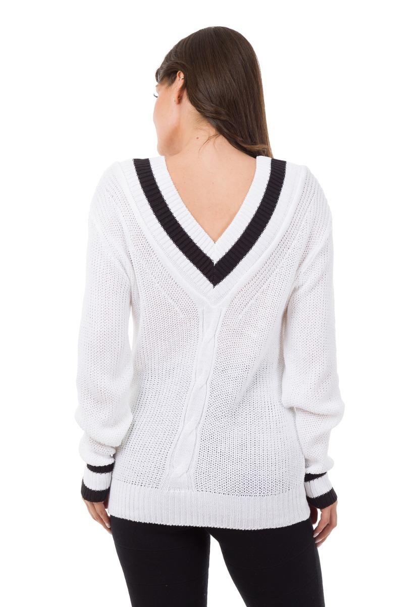 b8d3e339d5 blusa de frio feminina tricot crochê gola v listras colegial. Carregando  zoom.