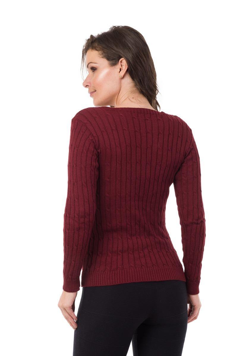 b8c76b1ddb blusa de frio gola v tricot crochê trabalhada trança inverno. Carregando  zoom.
