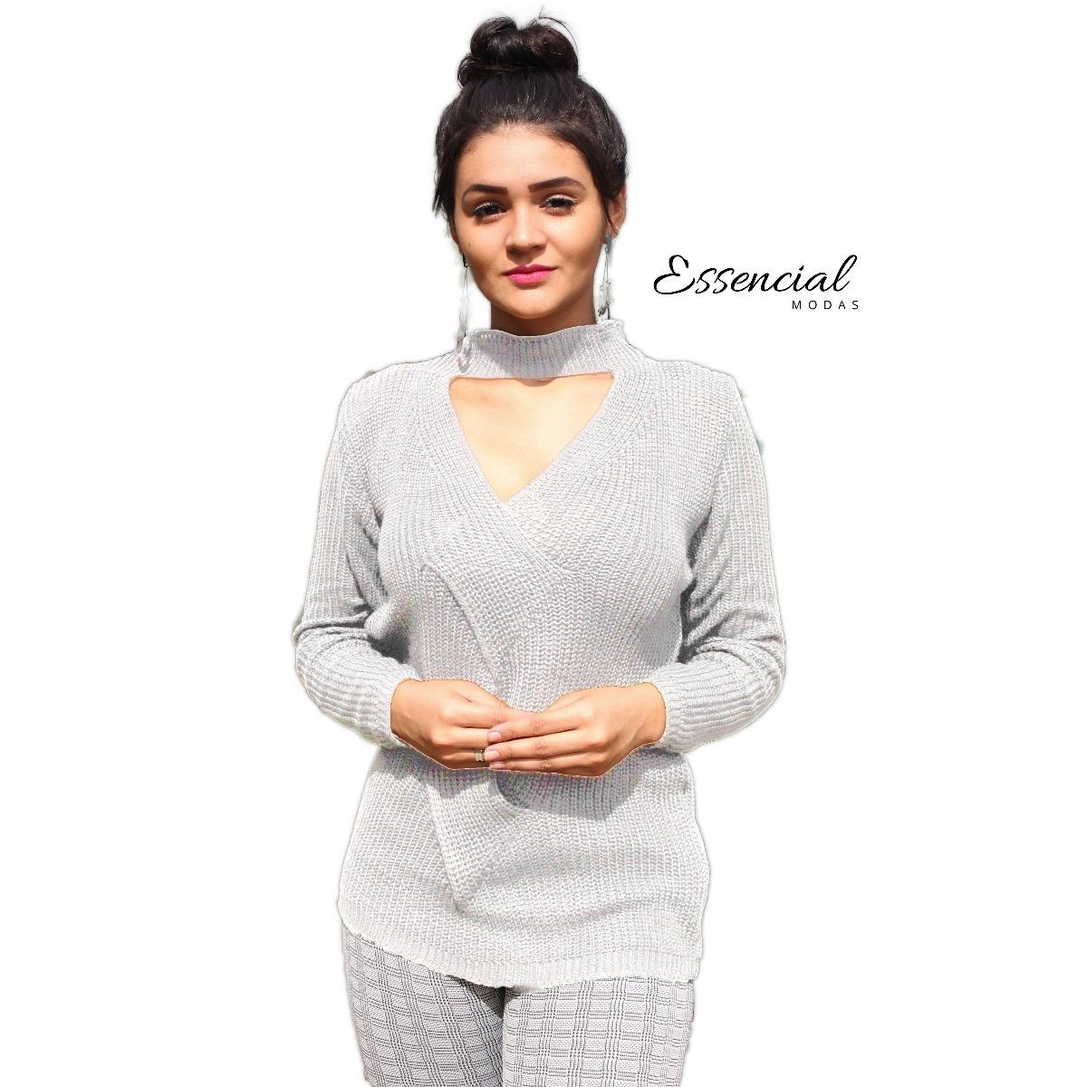 ef3cbfd8df blusa de frio linha trico lã gola chocker v moda feminina 18. Carregando  zoom.