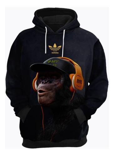blusa de frio moletom adidas macaco música