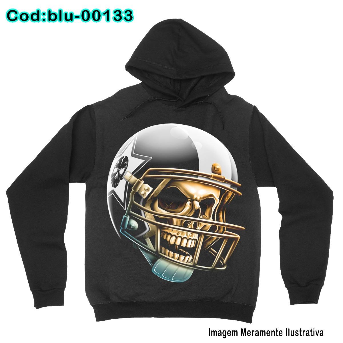 blusa de frio moletom skull futebol americano -blu0133. Carregando zoom. eb65b065348ef