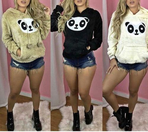 blusa de frio panda pelúcia peludinho liso feminino